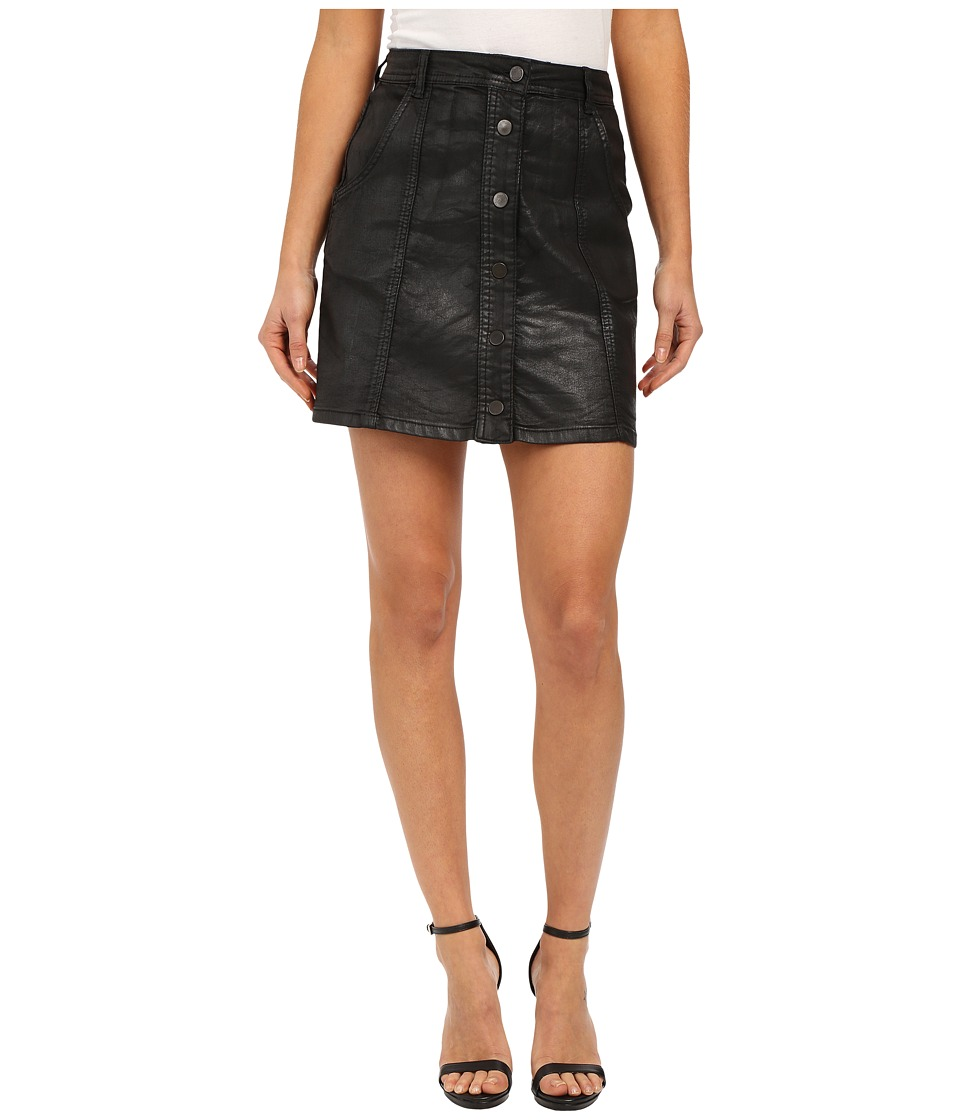 Blank NYC - Black Coated Skirt Buttons Going Down in Follow Me (Follow Me) Women's Skirt