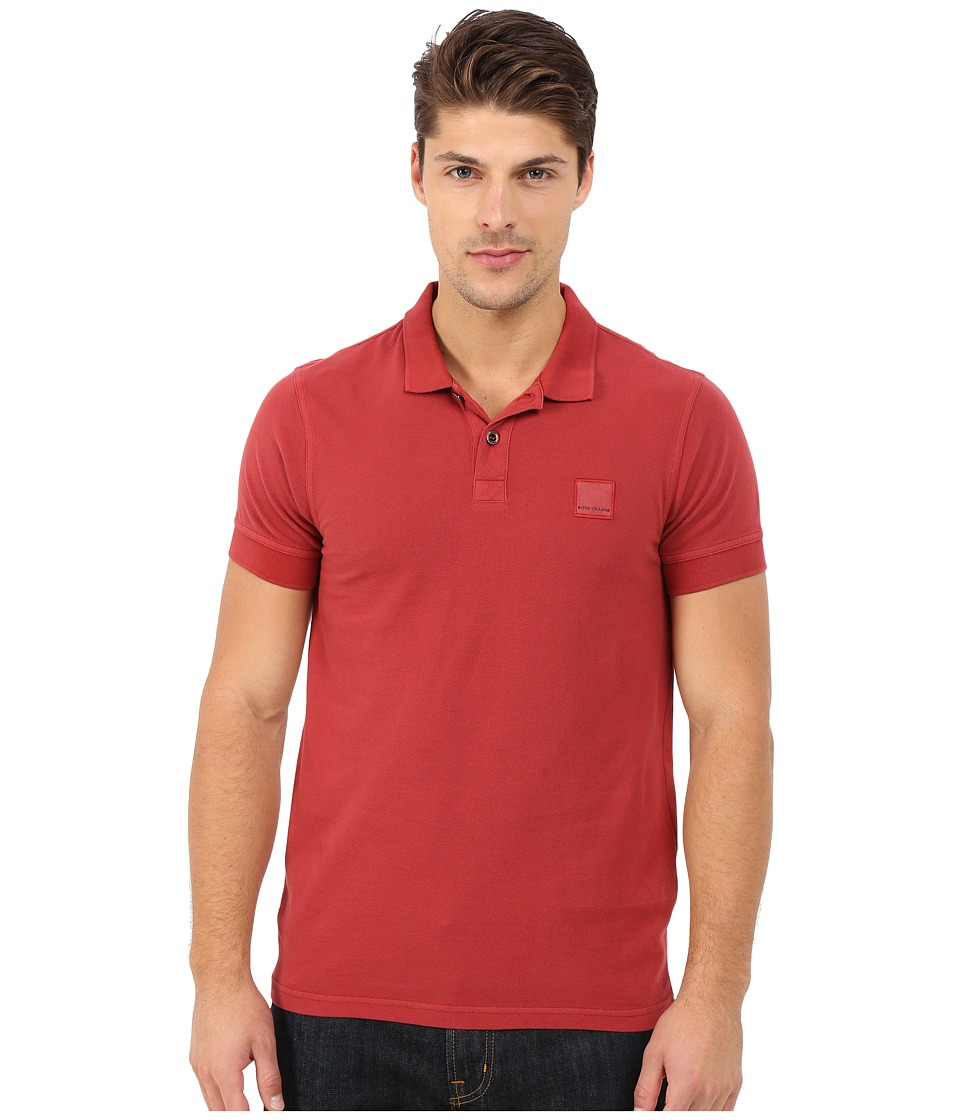 BOSS Orange - Pascha Slim Fit Saltwash Piquet Polo (Medium Red) Men's Short Sleeve Pullover