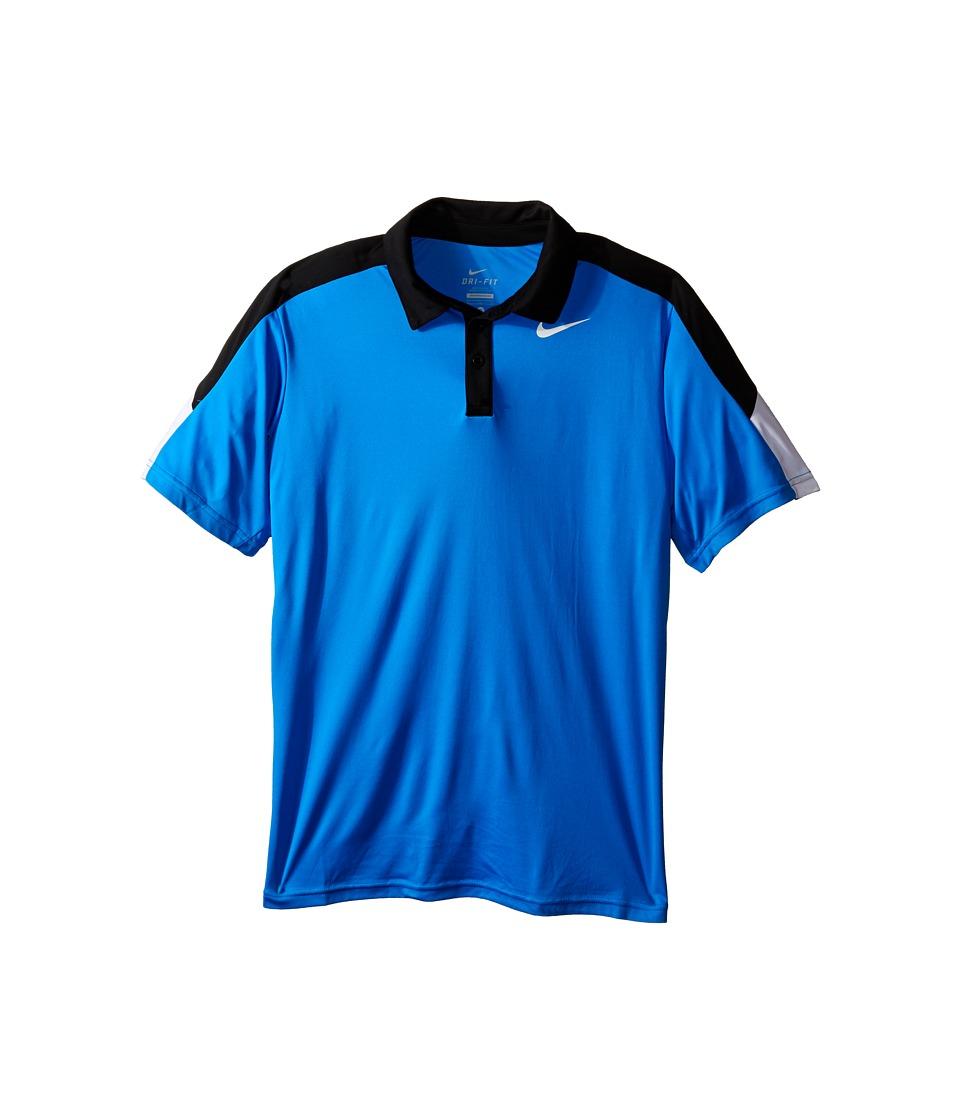 Nike Kids - Dry Short Sleeve Tennis Polo (Little Kids/Big Kids) (Photo Blue/Black/White/White) Boy's Short Sleeve Pullover
