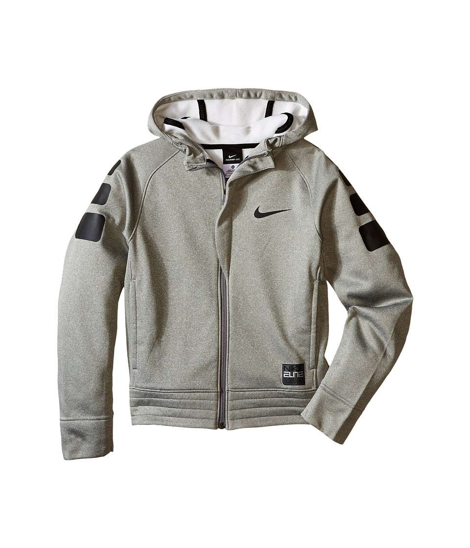 Nike Kids - Elite Stripe Hoodie (Little Kids/Big Kids) (Dark Grey Heather/Black/Black/Black) Boy's Sweatshirt