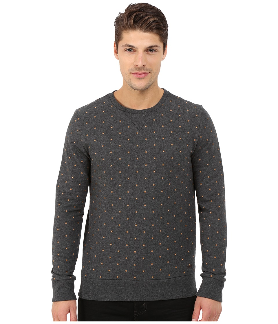 BOSS Orange - Wyott All Over Mini Printed Long Sleeve Cotton Crew Sweatshirt (Charcoal) Men's Sweatshirt