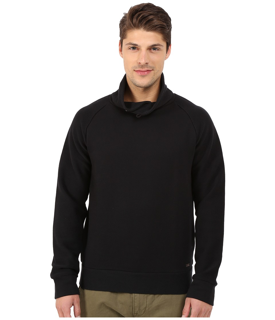 BOSS Orange - Wawy Structured Terry Shawl Collar Sweatshirt with Button Detail (Black) Men's Sweatshirt