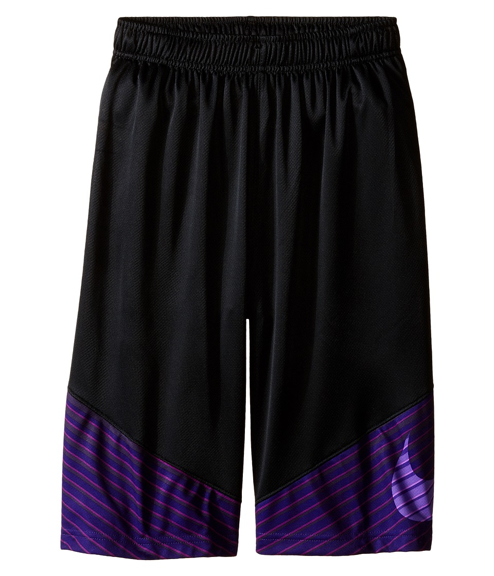 Nike Kids - Elite Performance Basketball Short (Little Kids/Big Kids) (Black/Court Purple/Cosmic Purple/Metallic Silver) Boy's Shorts