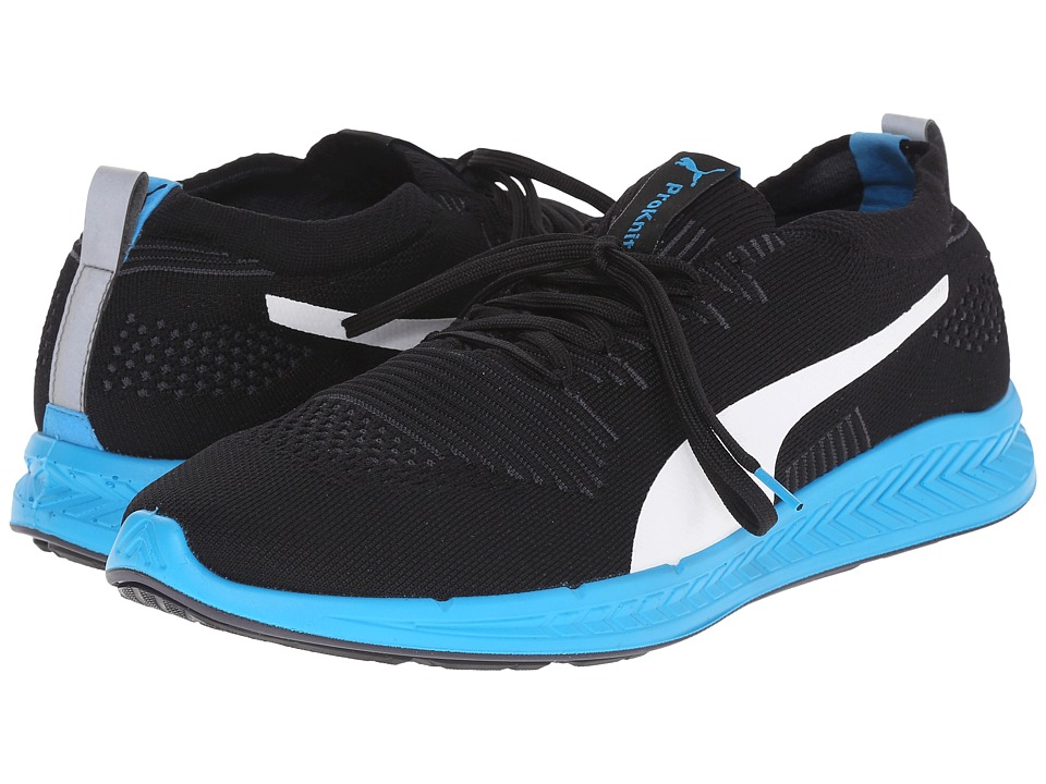 PUMA - Ignite ProKnit (Black/Atomic Blue/White) Men's Running Shoes