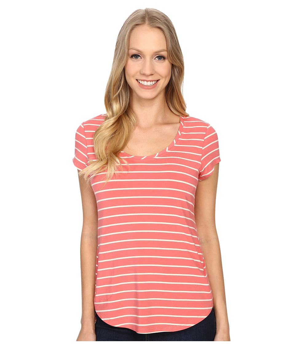 Columbia - All Who Wander Short Sleeve Top (Coral Bloom/Stone Stripe) Women's Short Sleeve Pullover