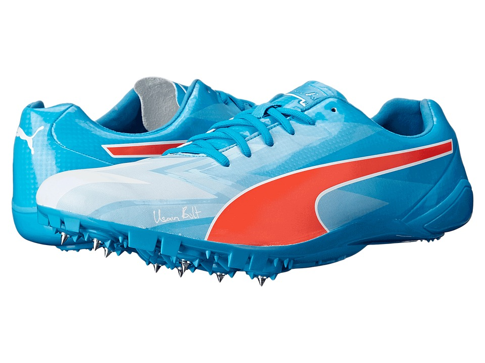 PUMA - Bolt evoSPEED Electric v3 (White/Atomic Blue/Red Blast) Men's Running Shoes