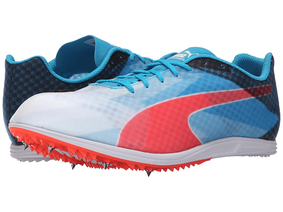 PUMA - evoSPEED Distance v6 (White/Atomic Blue/Red Blast) Men's Running Shoes