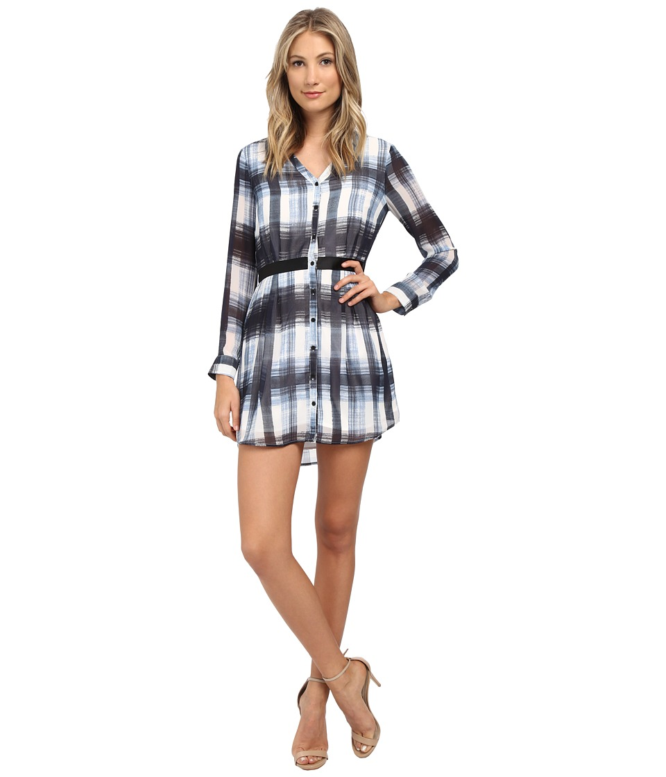 Jack by BB Dakota - Cahill Ombre Plaid Printed Chiffon Dress (Bluestone) Women