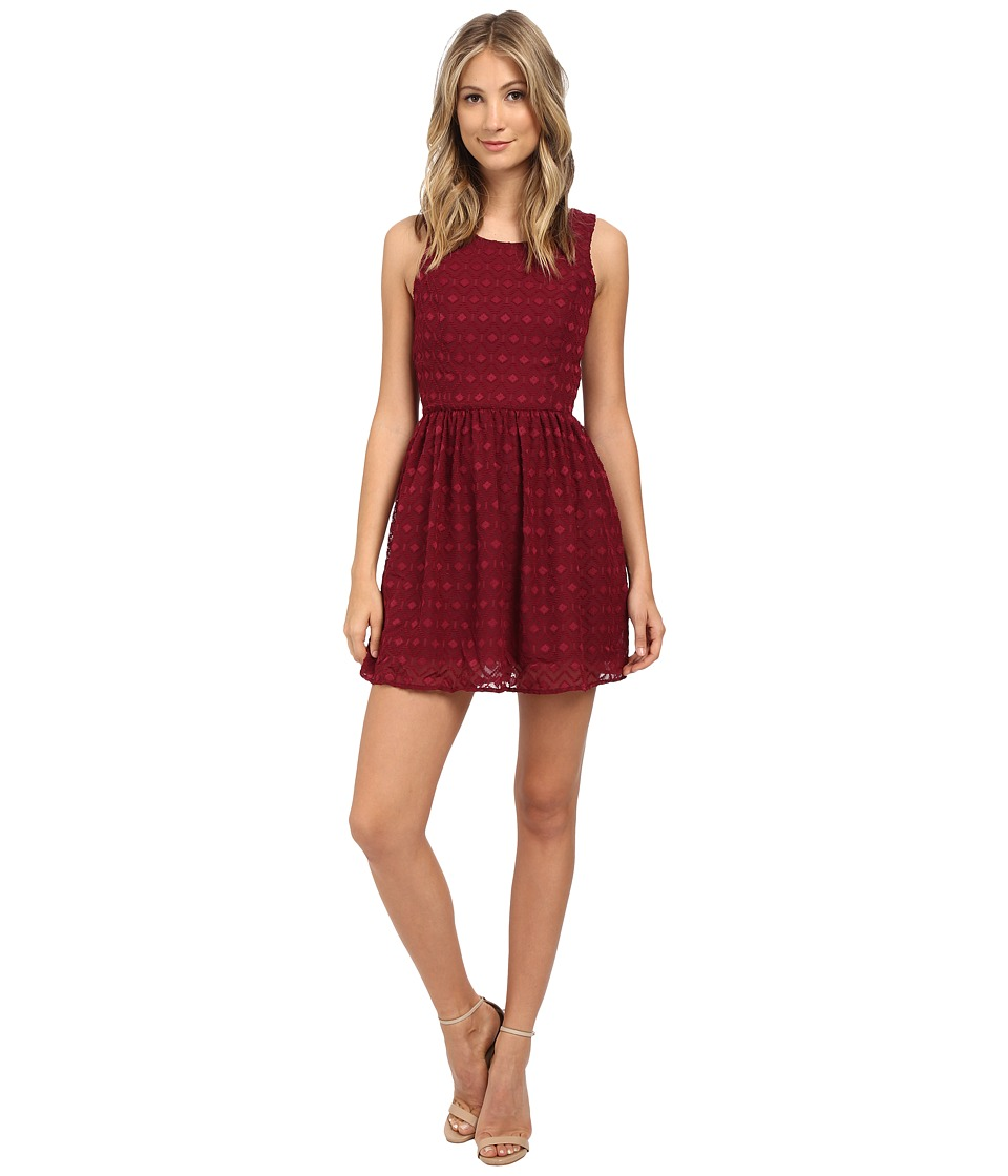 Jack by BB Dakota - Eldon Diamond Patterned Chiffon Dress (Merlot) Women's Dress