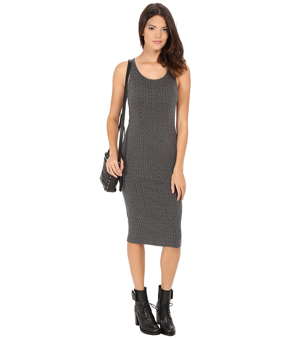 Jack by BB Dakota - Castel Cable Pattern Knit Jacquard Midi Dress (Charcoal Grey) Women