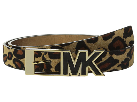 MICHAEL Michael Kors - 25mm Haircalf Belt with Contrast Patent Inlay MK Buckle (Leopard) Women's Belts