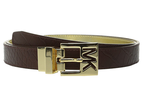 MICHAEL Michael Kors - 25mm Reversible Belt with MK Cutout Buckle (Chocolate/Gold) Women