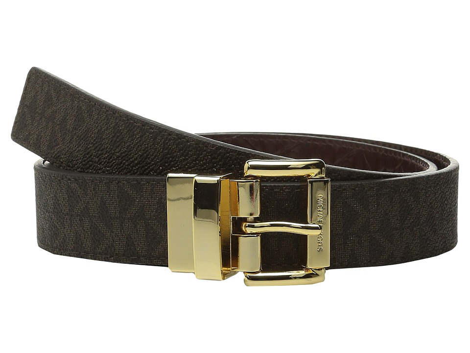 MICHAEL Michael Kors - 32mm Reversible MK PVC Logo to Croco Belt (Brown Logo/Chocolate) Women's Belts