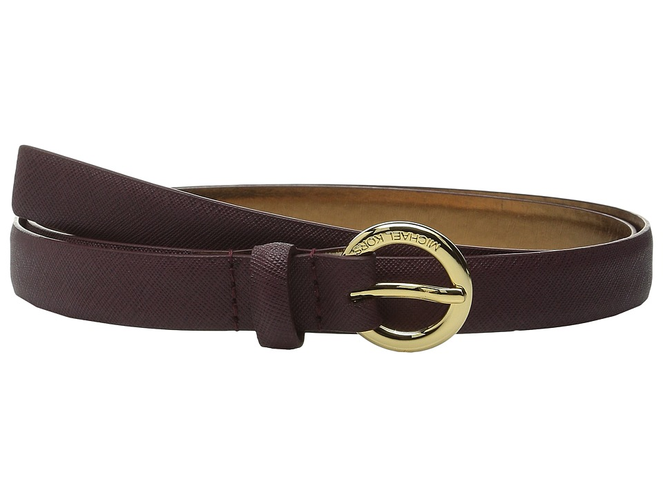 MICHAEL Michael Kors - 20mm Saffiano Belt on MK Logo Ring Buckle (Burgundy) Women's Belts