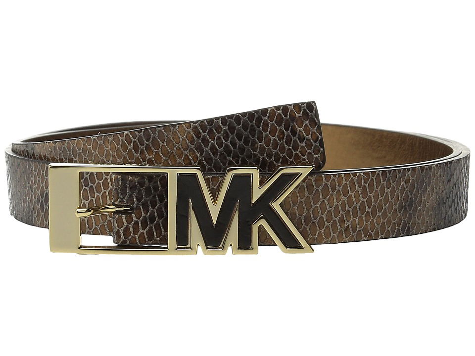 MICHAEL Michael Kors - 25mm Snake Embossed Belt with Contrast Inlay MK Buckle (Tan Snake) Women