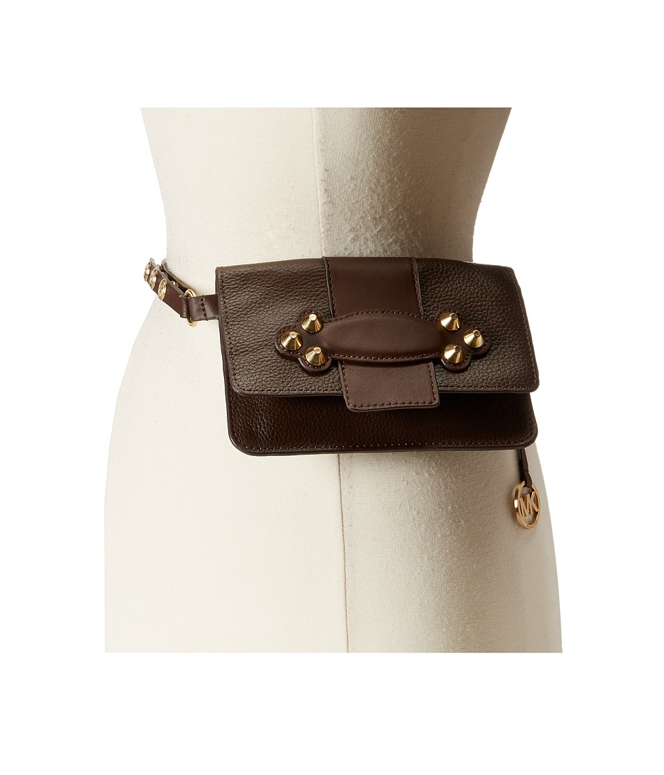 MICHAEL Michael Kors - Shrunken Leather Belt Bag with Smooth Padded Tab and Strap (Chocolate) Women