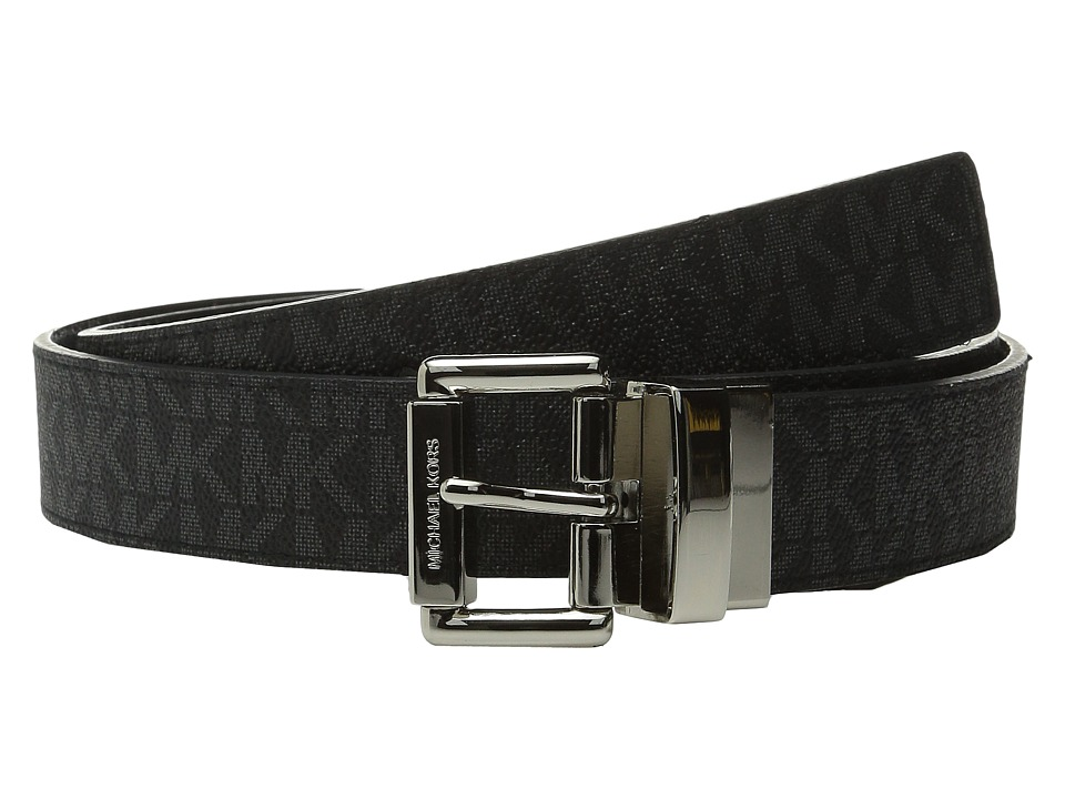 MICHAEL Michael Kors - 32mm Reversible MK PVC Logo to Croco Belt (Black Logo/Black) Women's Belts