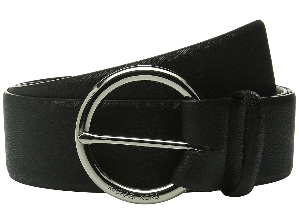 MICHAEL Michael Kors - 50mm Contour Saffiano Belt on MK Logo Ring Buckle (Black) Women's Belts
