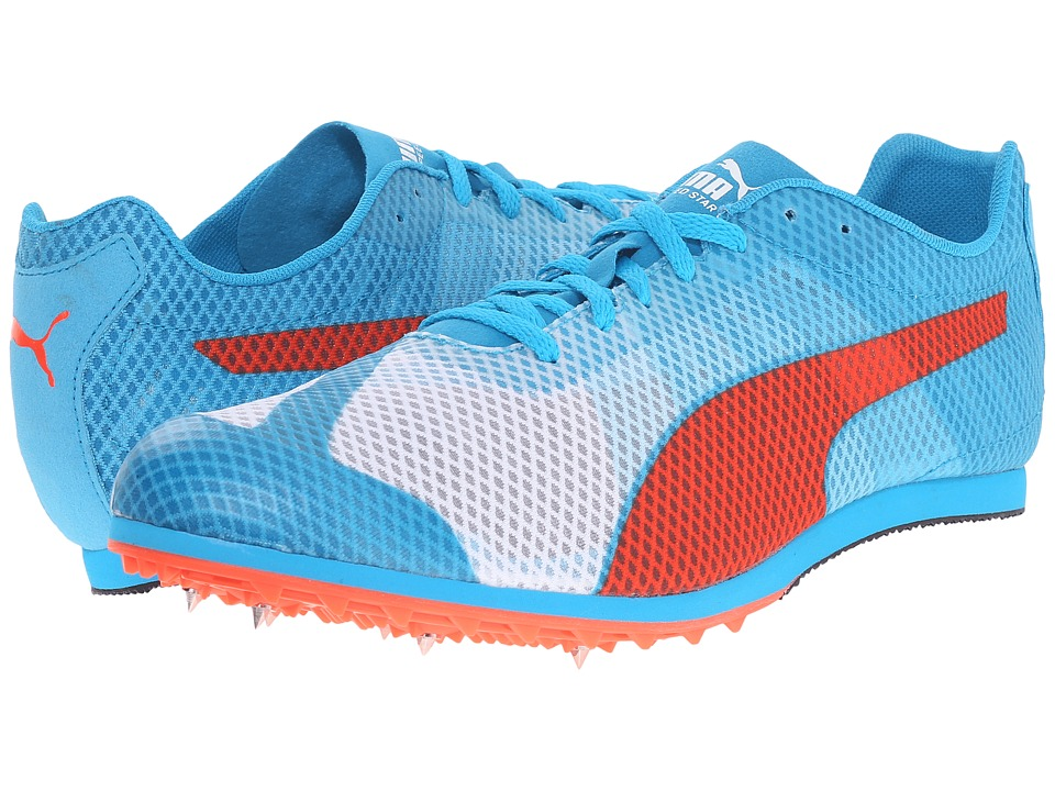 PUMA - evoSPEED Star v4 (White/Atomic Blue/Red Blast) Men's Running Shoes