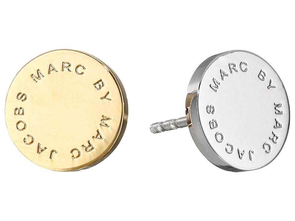 Marc by Marc Jacobs - Logo Disc Studs Earrings (Oro Multi) Earring