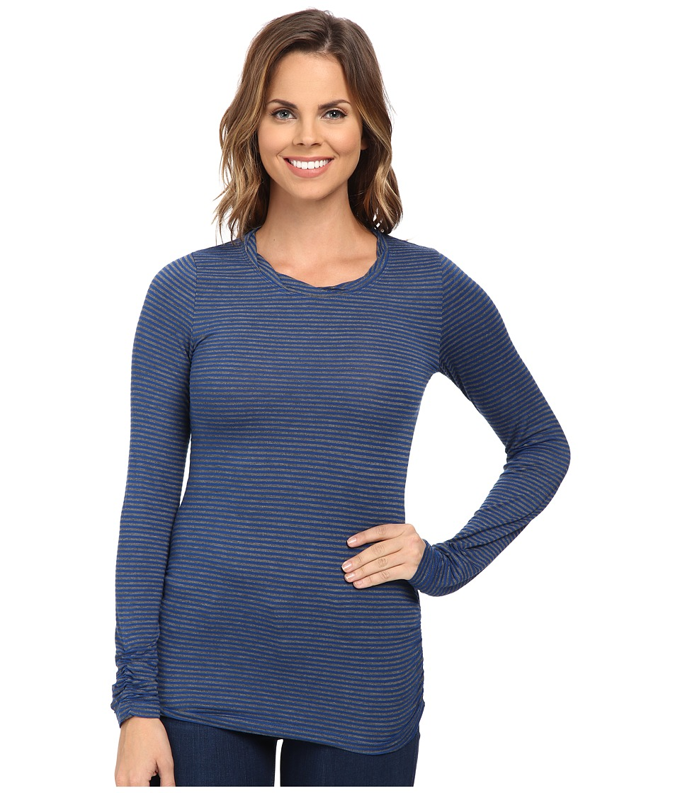 Mod-o-doc Twisted Collar Side Shirred Tee (Blueberry) Women