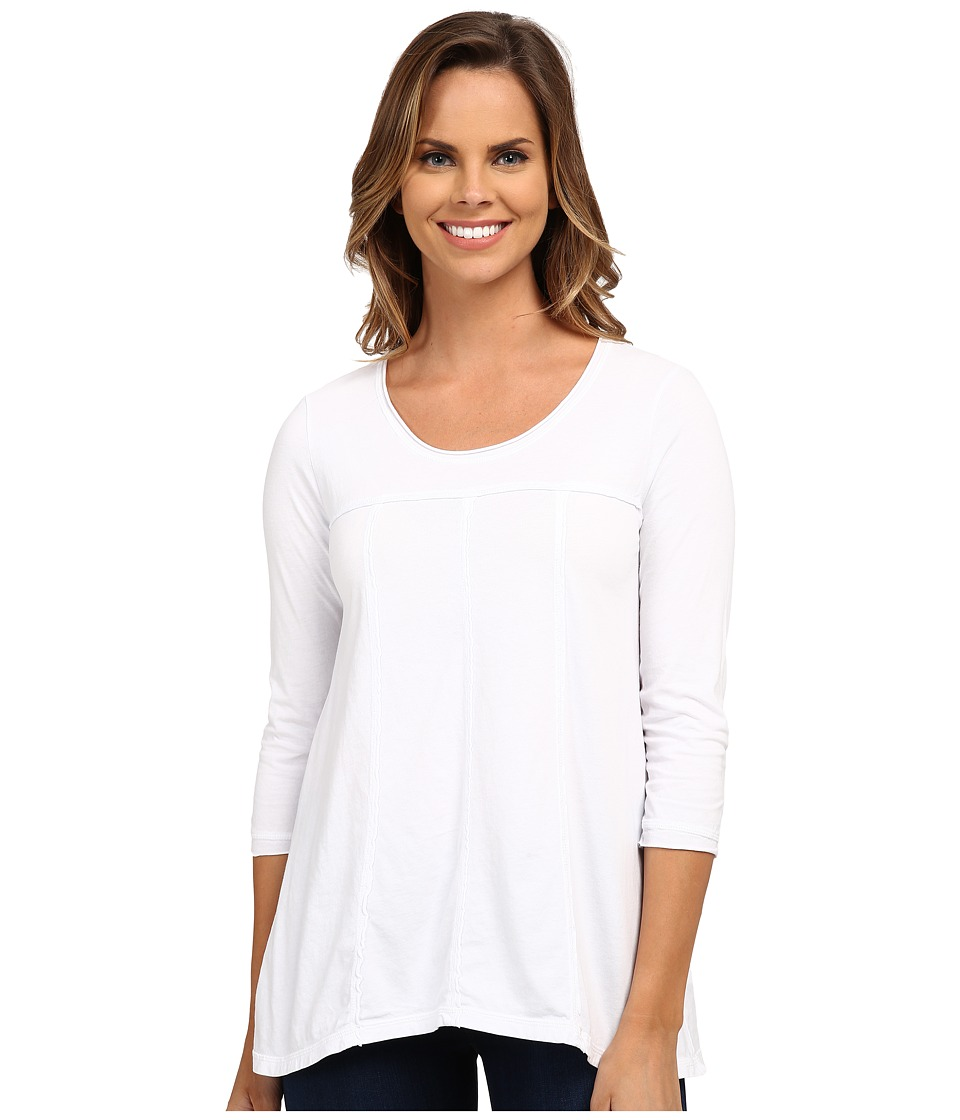 Mod-o-doc - Classic Jersey 3/4 Sleeve Seamed Scoopneck Tee (White) Women's T Shirt