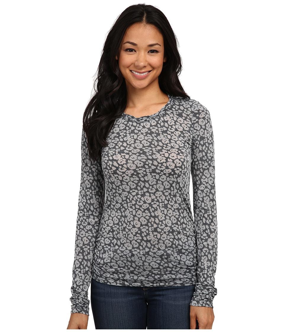 Mod-o-doc - Leopard Skinz Burnout Jersey Long Sleeve Twisted Scoopneck Tee (Black) Women's T Shirt