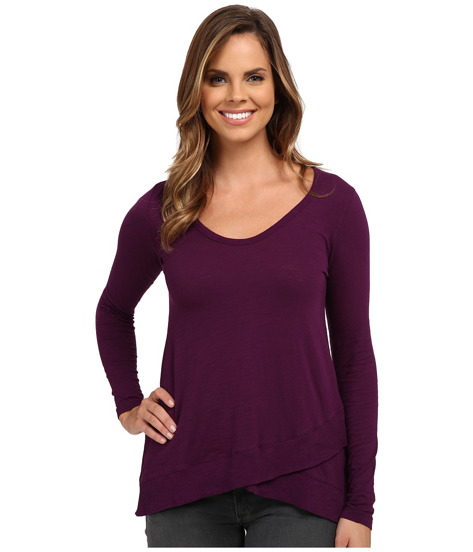 Mod-o-doc - Slub Jersey Long Sleeve Crossover Rib Hem Tee (Port) Women's Long Sleeve Pullover