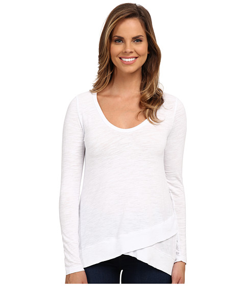 Mod-o-doc - Slub Jersey Long Sleeve Crossover Rib Hem Tee (White) Women