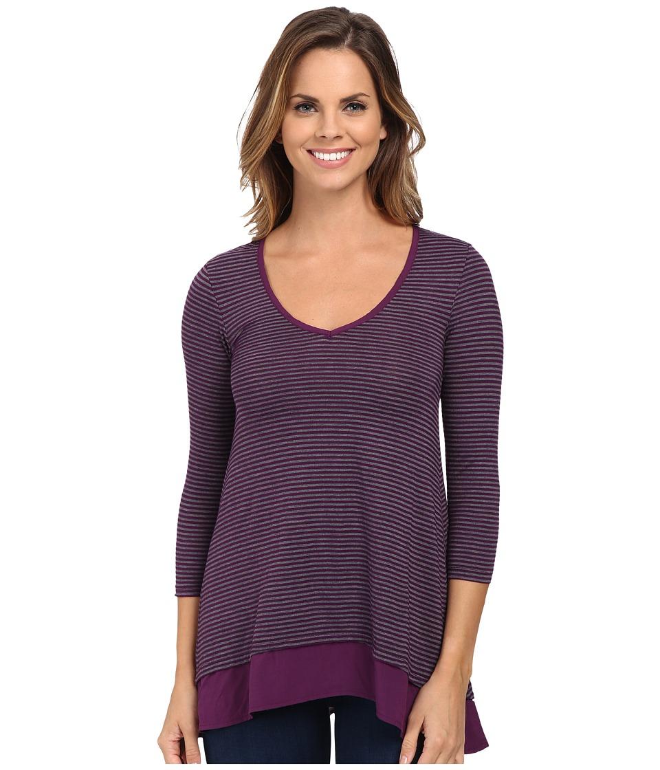Mod-o-doc - City Stripe Jersey V-Neck Tee with Contrast Banded Hem (Port) Women's T Shirt