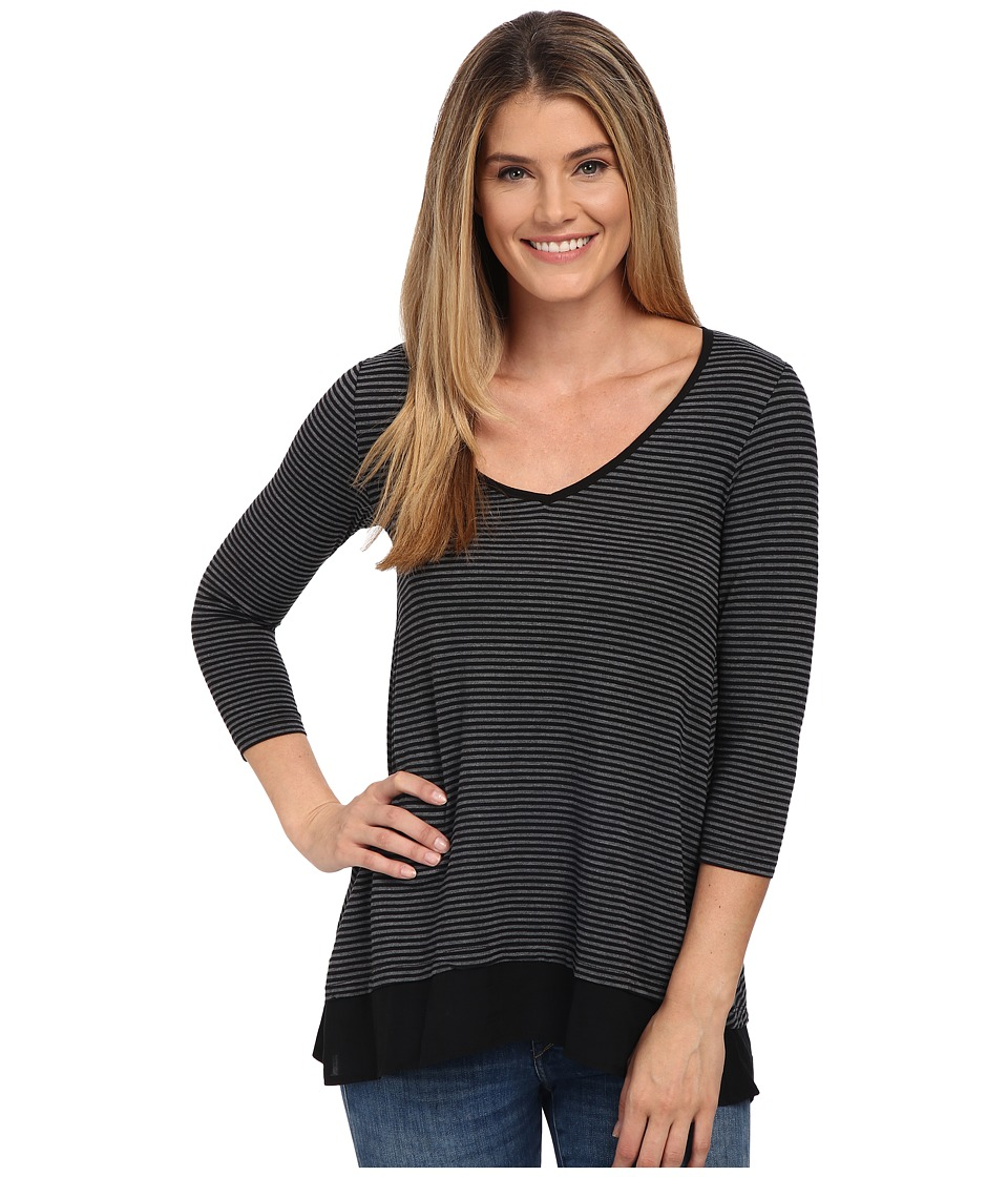 Mod-o-doc - City Stripe Jersey V-Neck Tee with Contrast Banded Hem (Black) Women's T Shirt