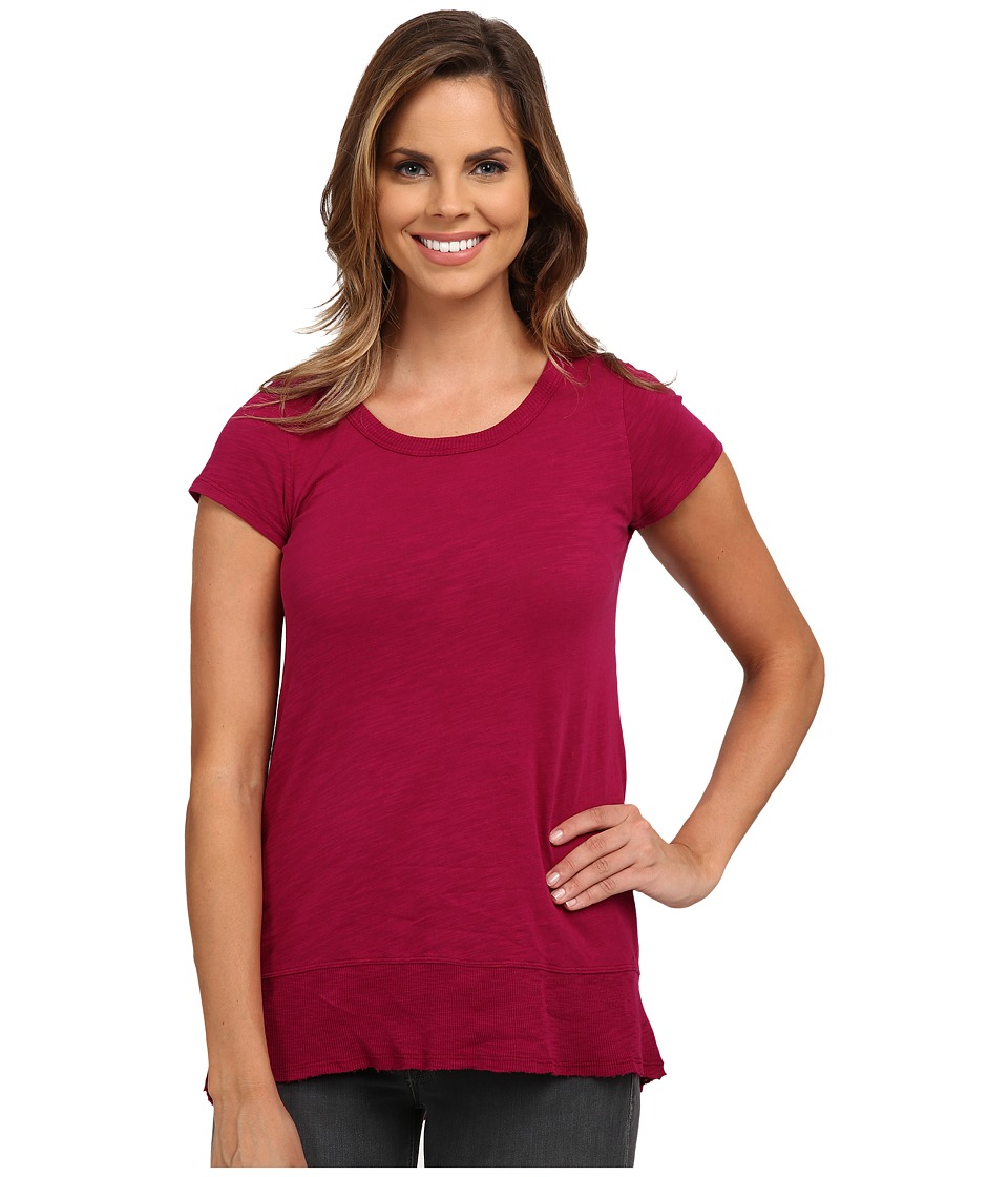 Mod-o-doc - Slub Jersey Short Sleeve Hi-Low Rib Trim Tee (Vino) Women's T Shirt
