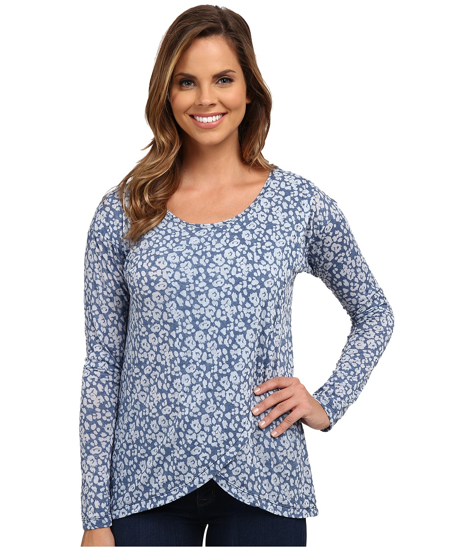 Mod-o-doc - Leopard Skinz Burnout Jersey Long Sleeve Crossover Front Tee (Blueberry) Women's T Shirt
