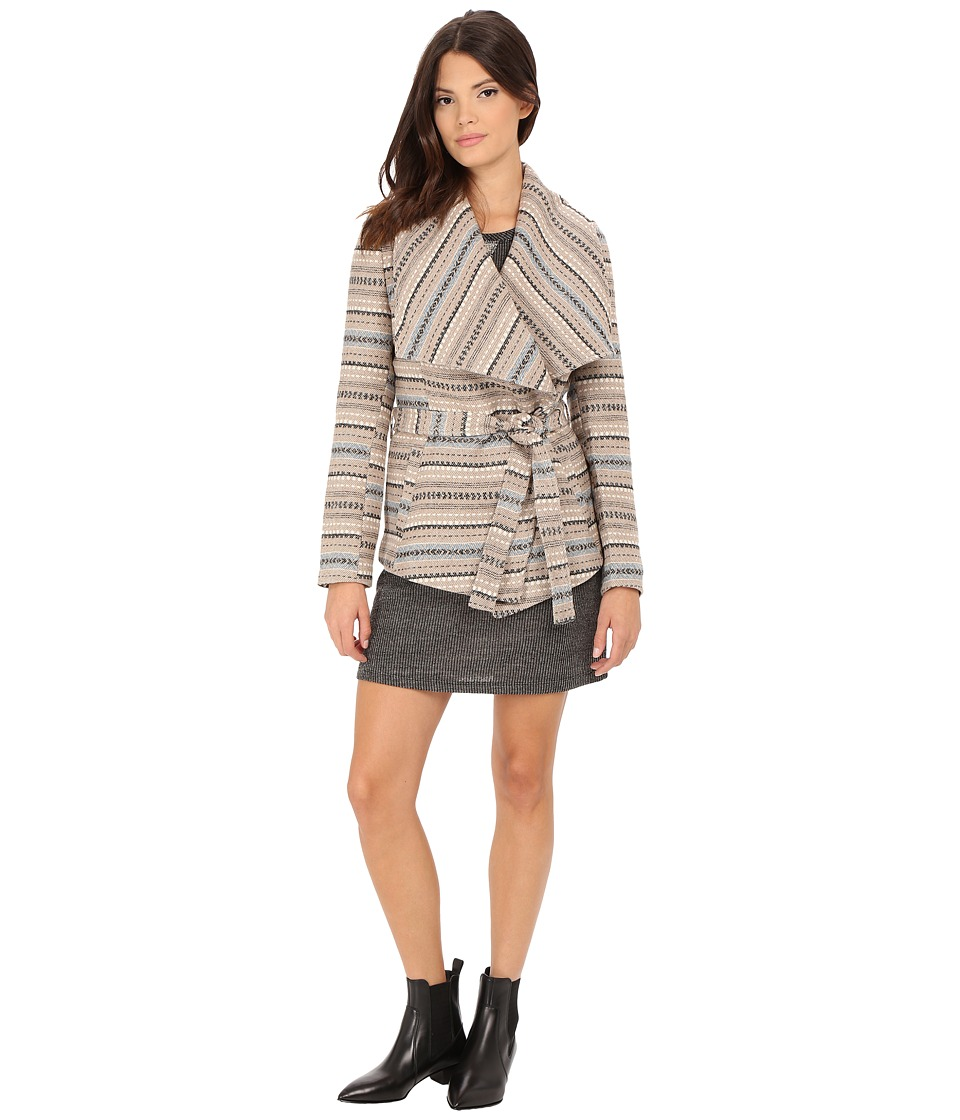 Jack by BB Dakota - Nivea Stripe Jacquard Belted Jacket (Dark Khaki) Women's Coat