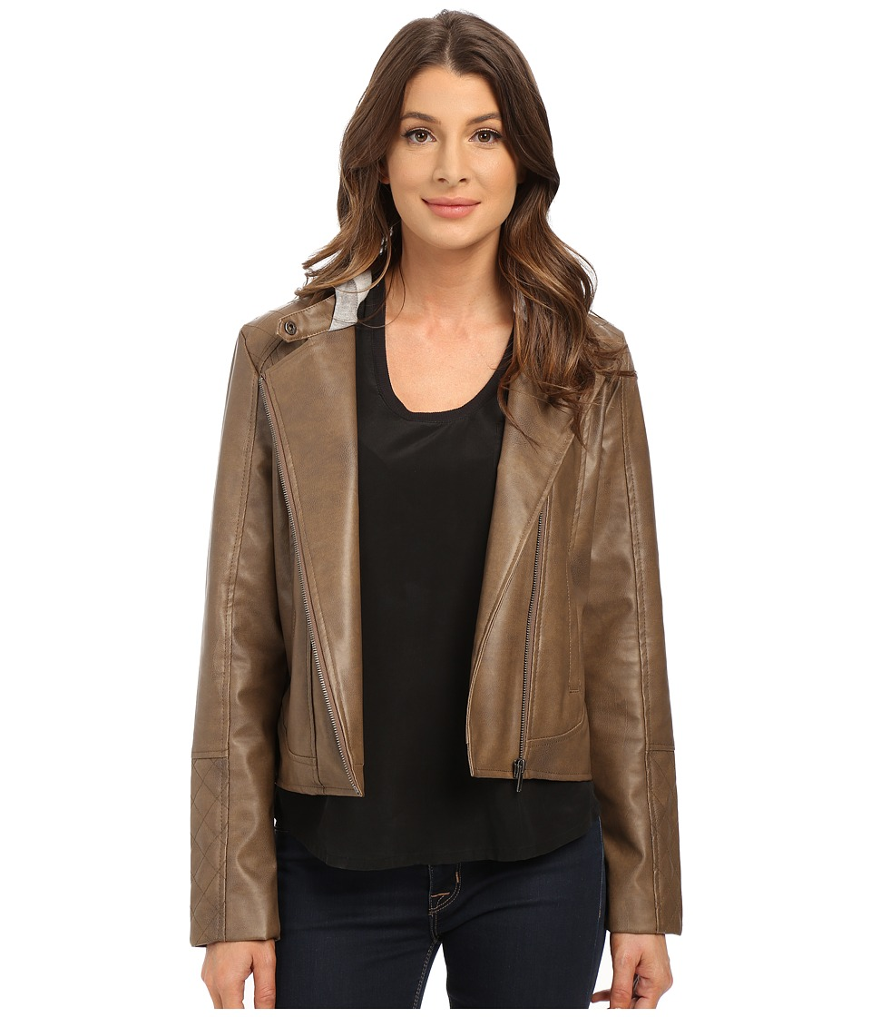 Jack by BB Dakota - Dodge Two-Tone PU and French Terry Hooded Jacket (Walnut) Women's Coat