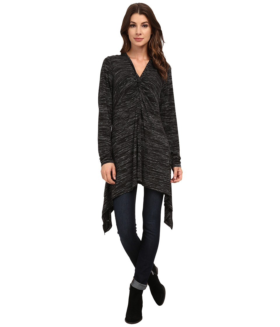 Mod-o-doc - Spaced Dyed Twist Front Empire Seamed Hi-Low Tunic (Black Heather) Women