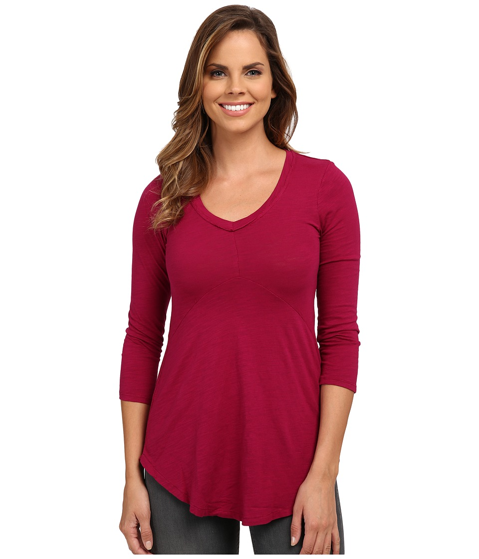 Mod-o-doc - Slub Jersey 3/4 Sleeve V-Neck Tunic (Vino) Women's Blouse