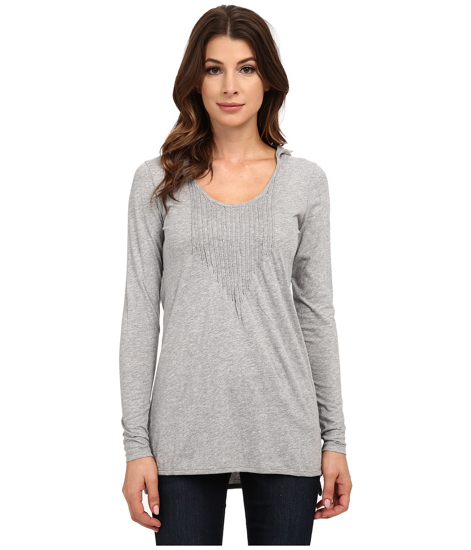 Mod-o-doc - Supreme Jersey Long Sleeve Pintuck Hooded Tunic (Smoke Heather) Women's T Shirt