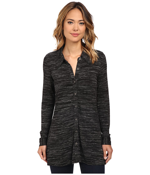 Mod-o-doc - Space Dyed Long Sleeve Button Front Tunic (Black Heather) Women
