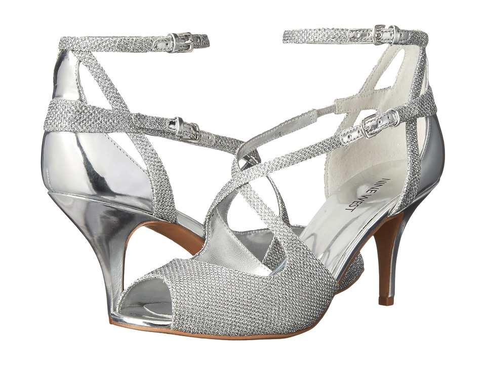 Nine West - Ovidia (Silver/Silver Fabric) Women's Shoes