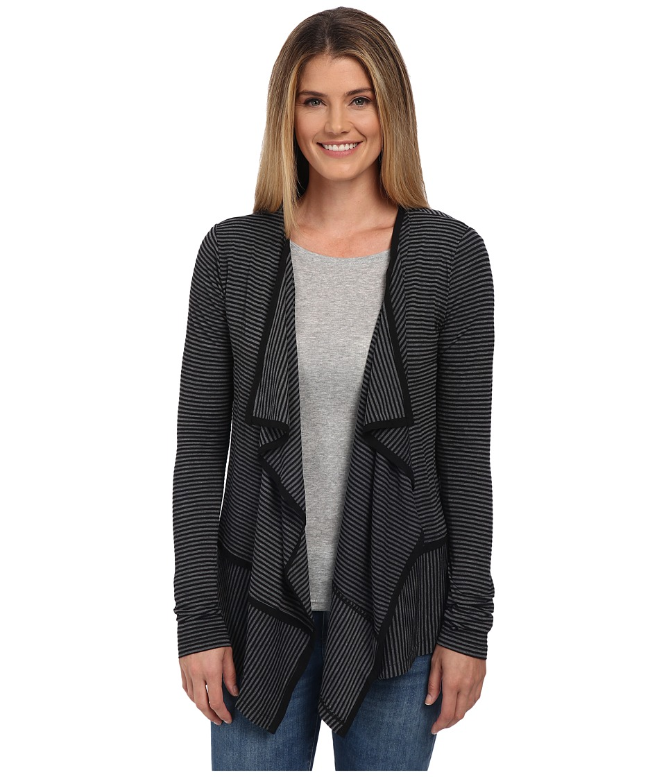 Mod-o-doc - City Stripe Jersey Easy Seamed Cardigan (Black) Women's Sweater