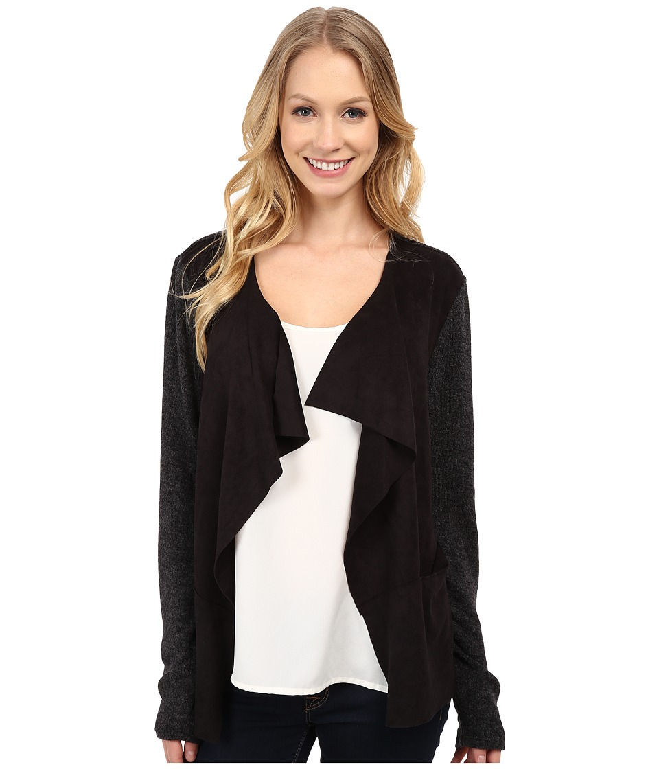 Mod-o-doc - Drape Front Cardigan with Sweater Knit (Black) Women's Sweater