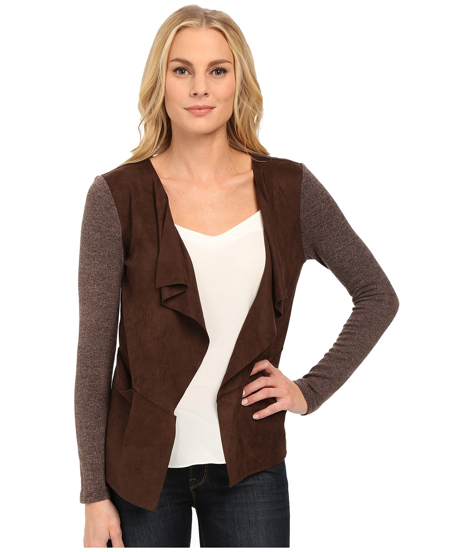 Mod-o-doc - Drape Front Cardigan with Sweater Knit (Brown) Women's Sweater