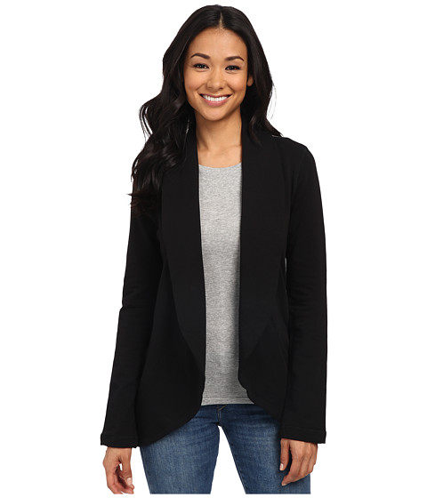 Mod-o-doc - Shawl Collar Cardigan with Sweater Back Panel (Black) Women's Sweater