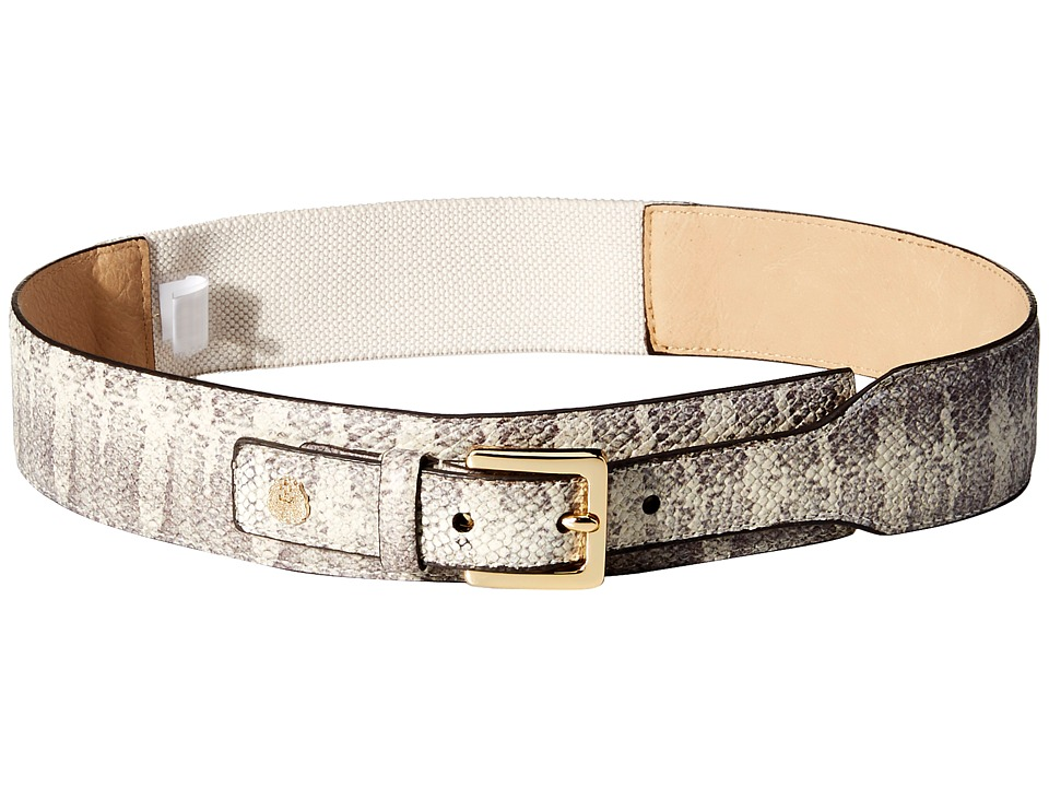 Vince Camuto - 45mm Printed Snake Tapered Stretch Belt (Natural) Women