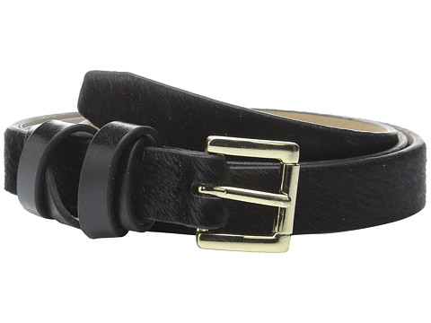 Vince Camuto - 20mm Haircalf Belt with Smooth Wrapped Loop (Black/Gold) Women
