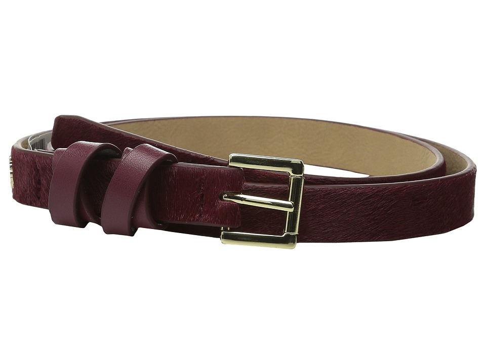 Vince Camuto - 20mm Haircalf Belt with Smooth Wrapped Loop (Cabernet) Women