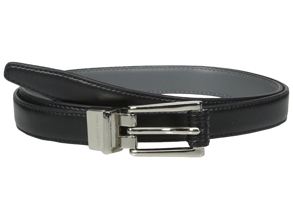 Vince Camuto - 20mm Reversible Belt with Stitched Wrap Roller Buckle (Black/Charcoal) Women