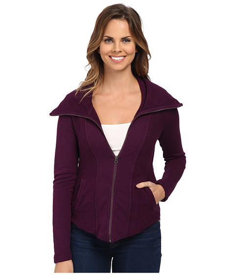 Mod-o-doc - Slub French Terry Contrast Panel Zip Front Jacket (Port) Women's Coat