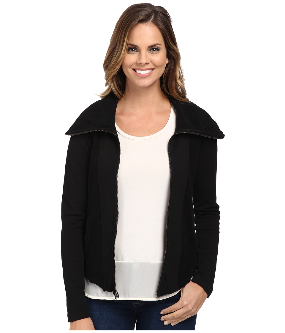 Mod-o-doc - Slub French Terry Contrast Panel Zip Front Jacket (Black) Women's Coat